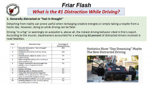 friar flash distracted driving