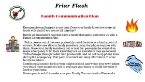 Friar Flash 2-8-16 Family Communication Plan